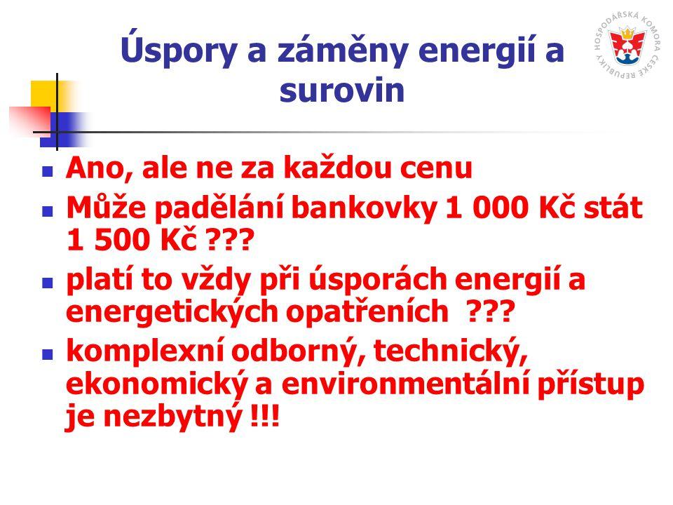 Úspory a záměny energií a surovin Ano, ale ne za každou cenu Může padělání bankovky 1 000 Kč stát 1 500 Kč ??.