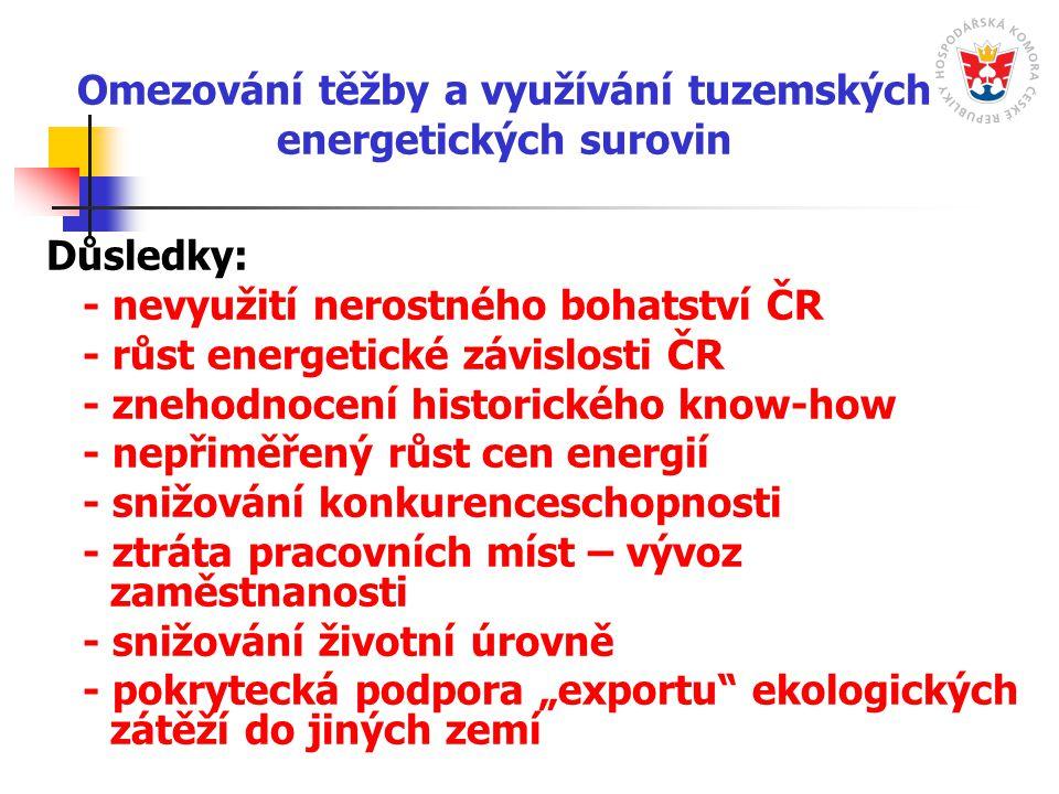 """Omezování těžby a využívání tuzemských energetických surovin Důsledky: - nevyužití nerostného bohatství ČR - růst energetické závislosti ČR - znehodnocení historického know-how - nepřiměřený růst cen energií - snižování konkurenceschopnosti - ztráta pracovních míst – vývoz zaměstnanosti - snižování životní úrovně - pokrytecká podpora """"exportu ekologických zátěží do jiných zemí"""