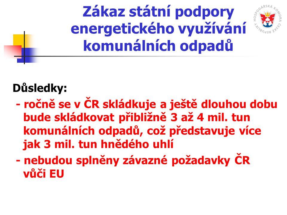 Zákaz státní podpory energetického využívání komunálních odpadů Důsledky: - ročně se v ČR skládkuje a ještě dlouhou dobu bude skládkovat přibližně 3 až 4 mil.