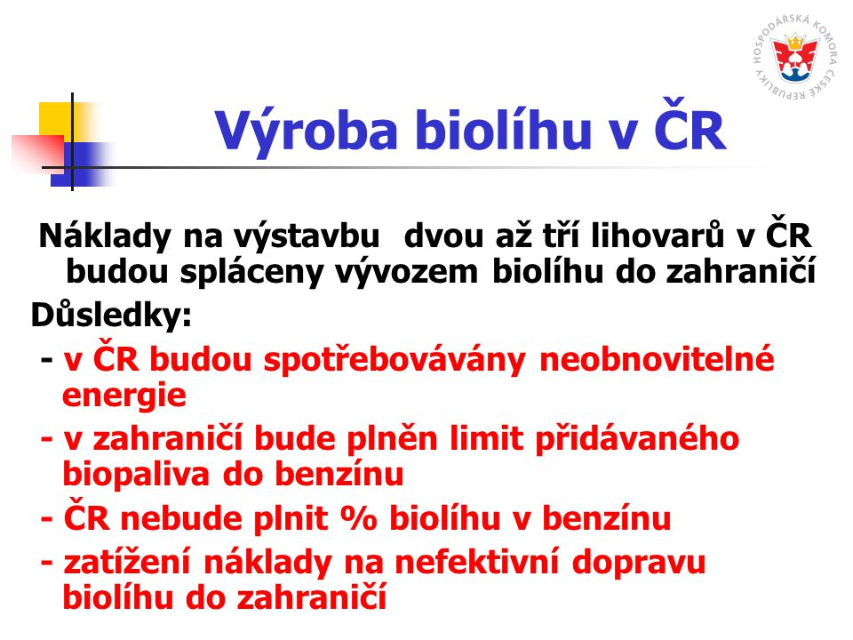 Výroba biolíhu v ČR Náklady na výstavbu dvou až tří lihovarů v ČR budou spláceny vývozem biolíhu do zahraničí Důsledky: - v ČR budou spotřebovávány neobnovitelné energie - v zahraničí bude plněn limit přidávaného biopaliva do benzínu - ČR nebude plnit % biolíhu v benzínu - zatížení náklady na nefektivní dopravu biolíhu do zahraničí
