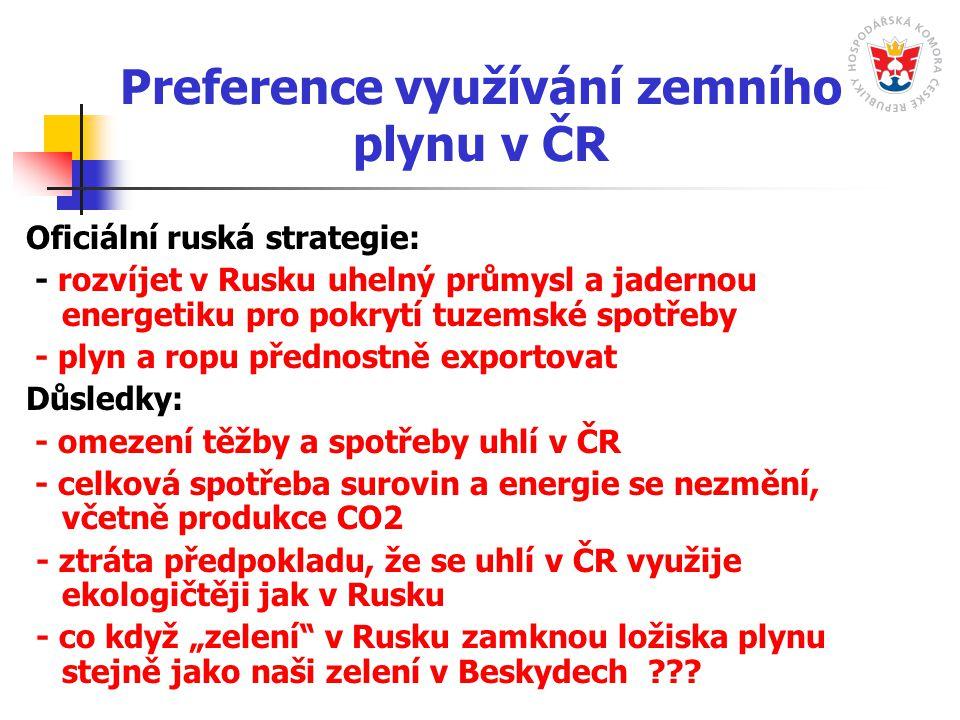 """Preference využívání zemního plynu v ČR Oficiální ruská strategie: - rozvíjet v Rusku uhelný průmysl a jadernou energetiku pro pokrytí tuzemské spotřeby - plyn a ropu přednostně exportovat Důsledky: - omezení těžby a spotřeby uhlí v ČR - celková spotřeba surovin a energie se nezmění, včetně produkce CO2 - ztráta předpokladu, že se uhlí v ČR využije ekologičtěji jak v Rusku - co když """"zelení v Rusku zamknou ložiska plynu stejně jako naši zelení v Beskydech"""