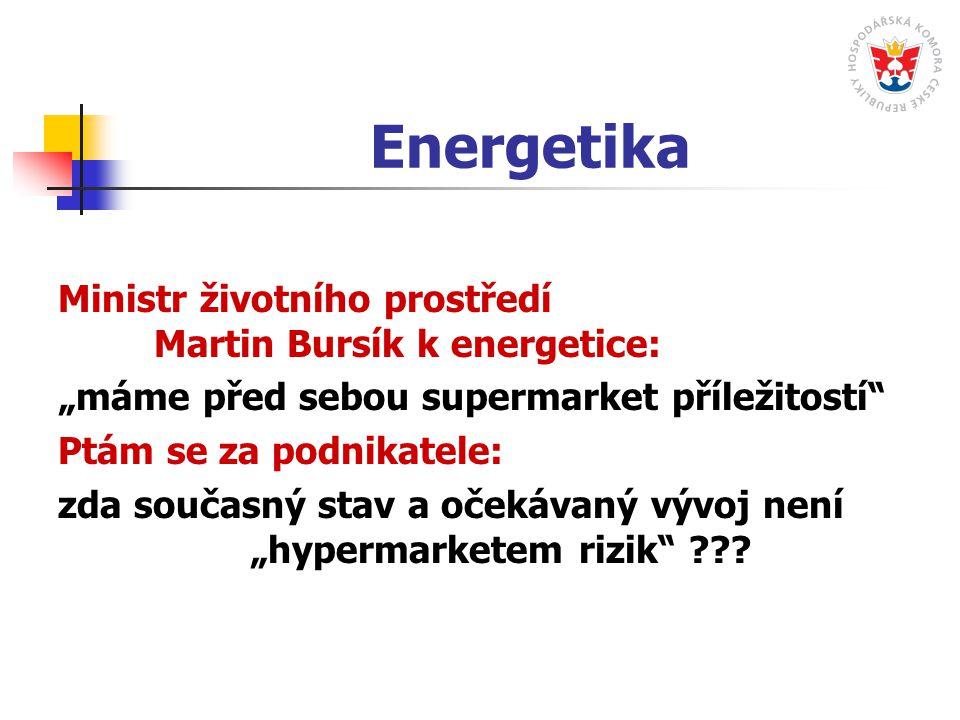 """Energetika Ministr životního prostředí Martin Bursík k energetice: """"máme před sebou supermarket příležitostí Ptám se za podnikatele: zda současný stav a očekávaný vývoj není """"hypermarketem rizik"""