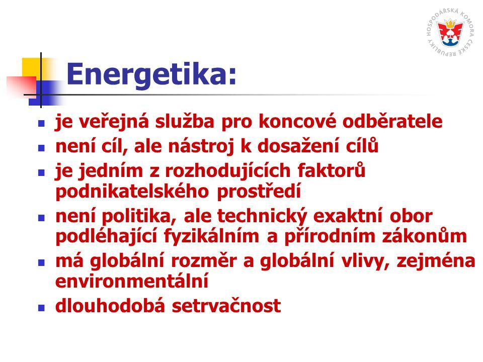 Energetika: je veřejná služba pro koncové odběratele není cíl, ale nástroj k dosažení cílů je jedním z rozhodujících faktorů podnikatelského prostředí není politika, ale technický exaktní obor podléhající fyzikálním a přírodním zákonům má globální rozměr a globální vlivy, zejména environmentální dlouhodobá setrvačnost
