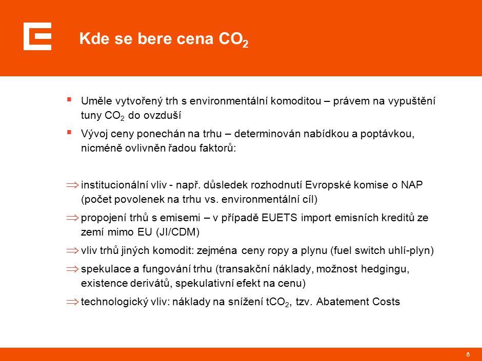 8 Kde se bere cena CO 2  Uměle vytvořený trh s environmentální komoditou – právem na vypuštění tuny CO 2 do ovzduší  Vývoj ceny ponechán na trhu – determinován nabídkou a poptávkou, nicméně ovlivněn řadou faktorů:  institucionální vliv - např.