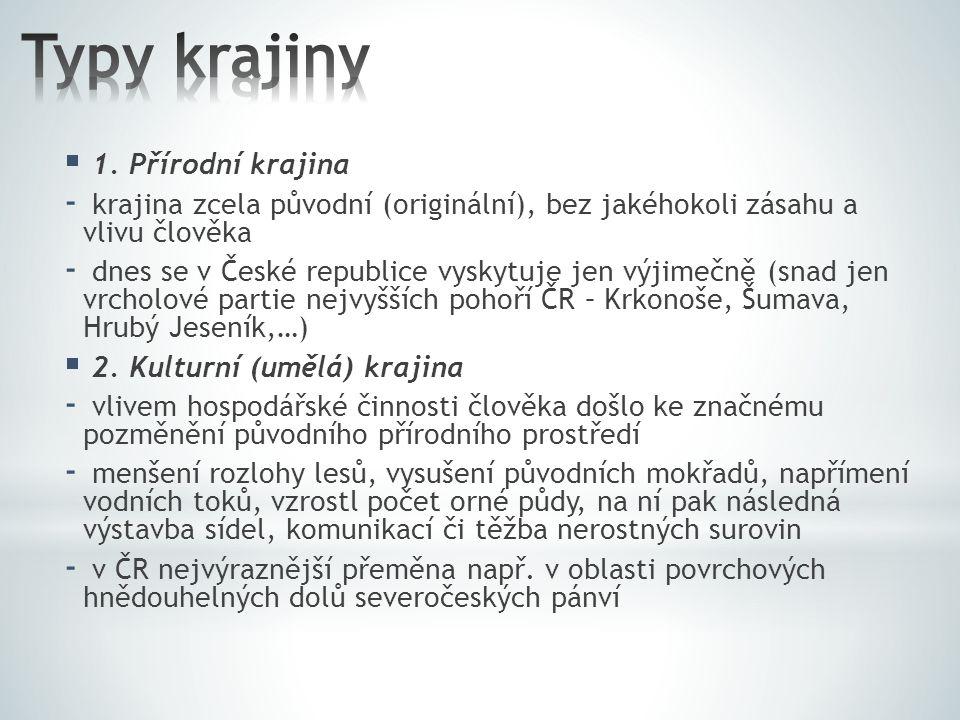  1. Přírodní krajina - krajina zcela původní (originální), bez jakéhokoli zásahu a vlivu člověka - dnes se v České republice vyskytuje jen výjimečně