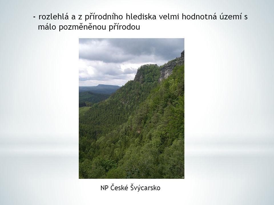 - rozlehlá a z přírodního hlediska velmi hodnotná území s málo pozměněnou přírodou NP České Švýcarsko
