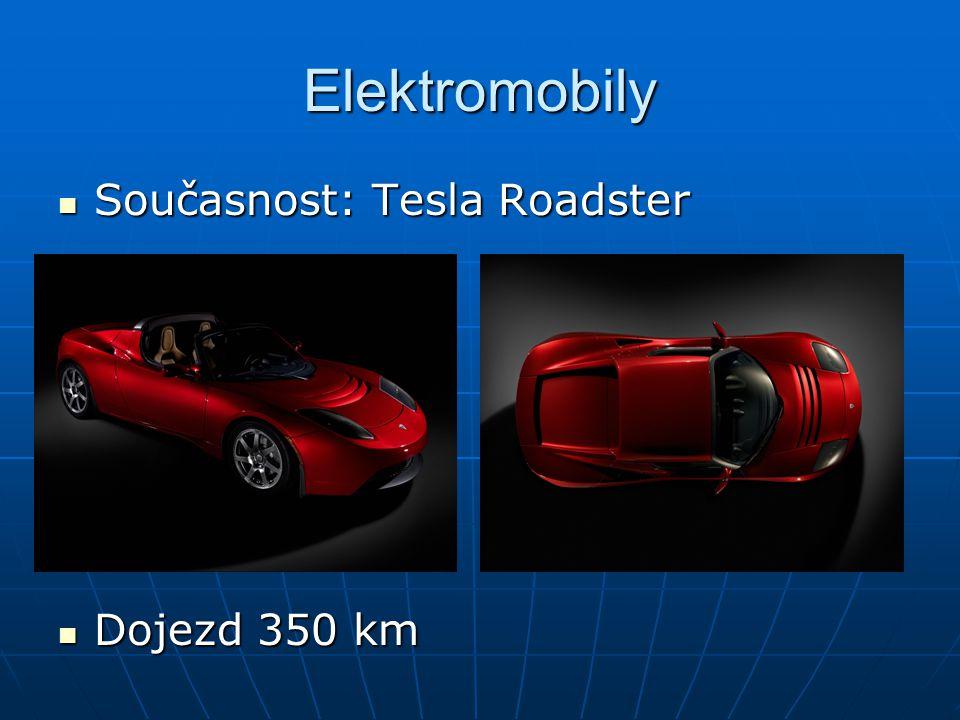Elektromobily Současnost: Tesla Roadster Současnost: Tesla Roadster Dojezd 350 km Dojezd 350 km