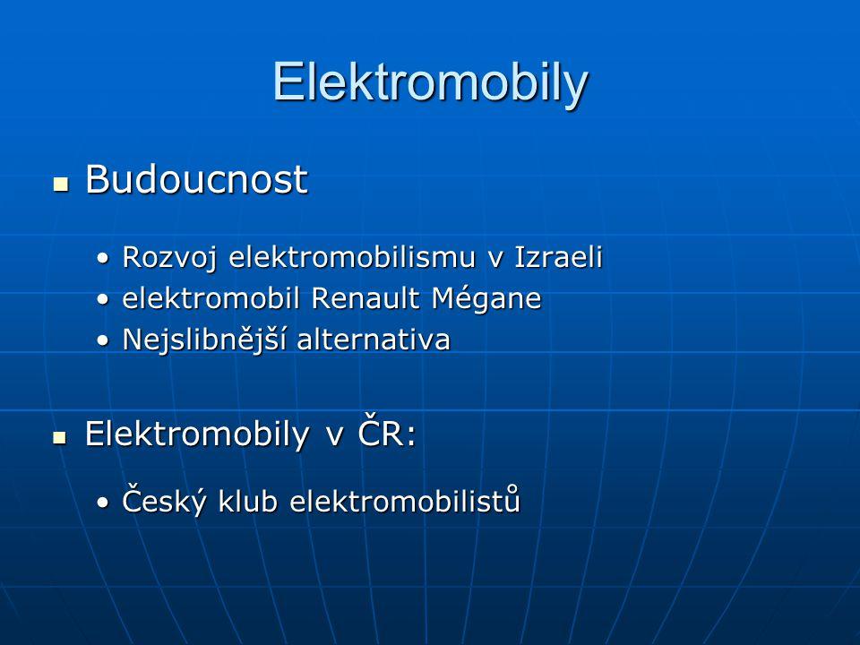 Elektromobily Budoucnost Budoucnost Rozvoj elektromobilismu v IzraeliRozvoj elektromobilismu v Izraeli elektromobil Renault Méganeelektromobil Renault