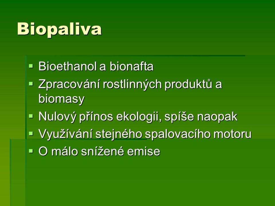 Biopaliva  Bioethanol a bionafta  Zpracování rostlinných produktů a biomasy  Nulový přínos ekologii, spíše naopak  Využívání stejného spalovacího motoru  O málo snížené emise