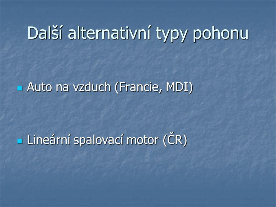 Další alternativní typy pohonu Auto na vzduch (Francie, MDI) Auto na vzduch (Francie, MDI) Lineární spalovací motor (ČR) Lineární spalovací motor (ČR)