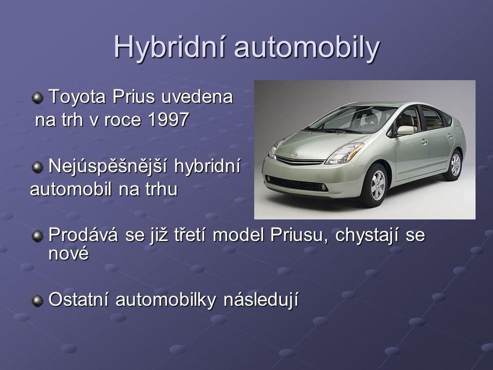 Hybridní automobily Toyota Prius uvedena na trh v roce 1997 na trh v roce 1997 Nejúspěšnější hybridní automobil na trhu Prodává se již třetí model Priusu, chystají se nové Ostatní automobilky následují