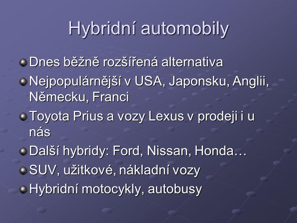 Hybridní automobily Dnes běžně rozšířená alternativa Nejpopulárnější v USA, Japonsku, Anglii, Německu, Franci Toyota Prius a vozy Lexus v prodeji i u nás Další hybridy: Ford, Nissan, Honda… SUV, užitkové, nákladní vozy Hybridní motocykly, autobusy