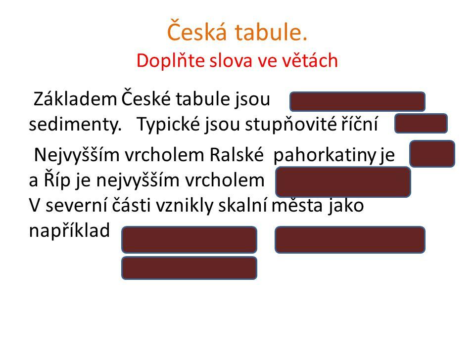 Česká tabule. Doplňte slova ve větách Základem České tabule jsou sedimenty. Typické jsou stupňovité říční Nejvyšším vrcholem Ralské pahorkatiny je a Ř