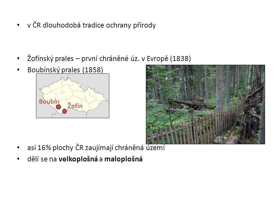 Velkoplošná chráněná území národní park (NP) chráněná krajinná oblast (CHKO) Maloplošná chráněná území rezervace (PR, NPR) památky (PP, NPP)