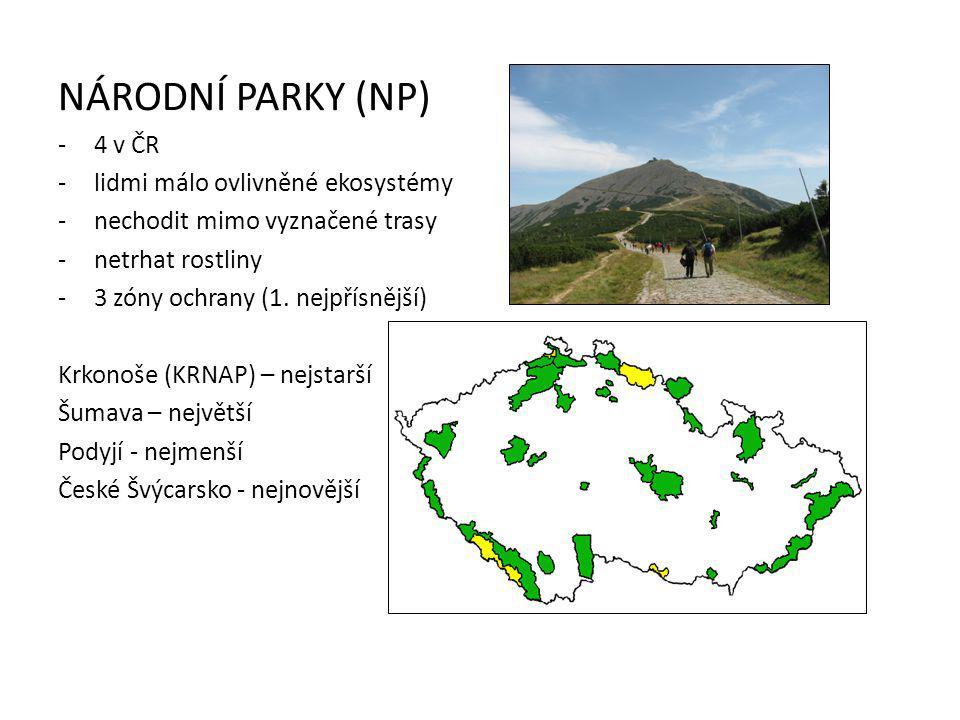 NÁRODNÍ PARKY (NP) -4 v ČR -lidmi málo ovlivněné ekosystémy -nechodit mimo vyznačené trasy -netrhat rostliny -3 zóny ochrany (1.