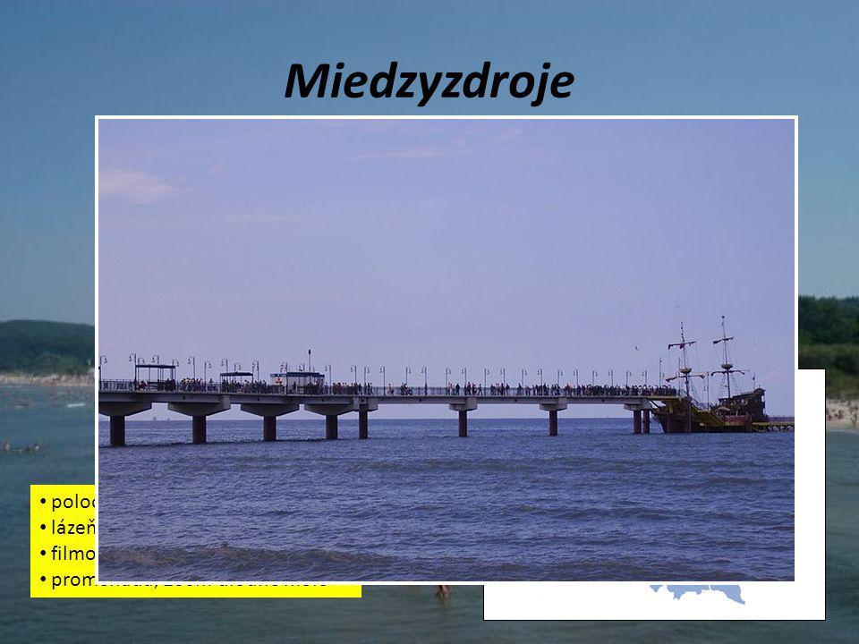Miedzyzdroje poloostrov Volyň, Baltské moře lázeňská destinace filmový festival promenáda, 200m dlouhé molo