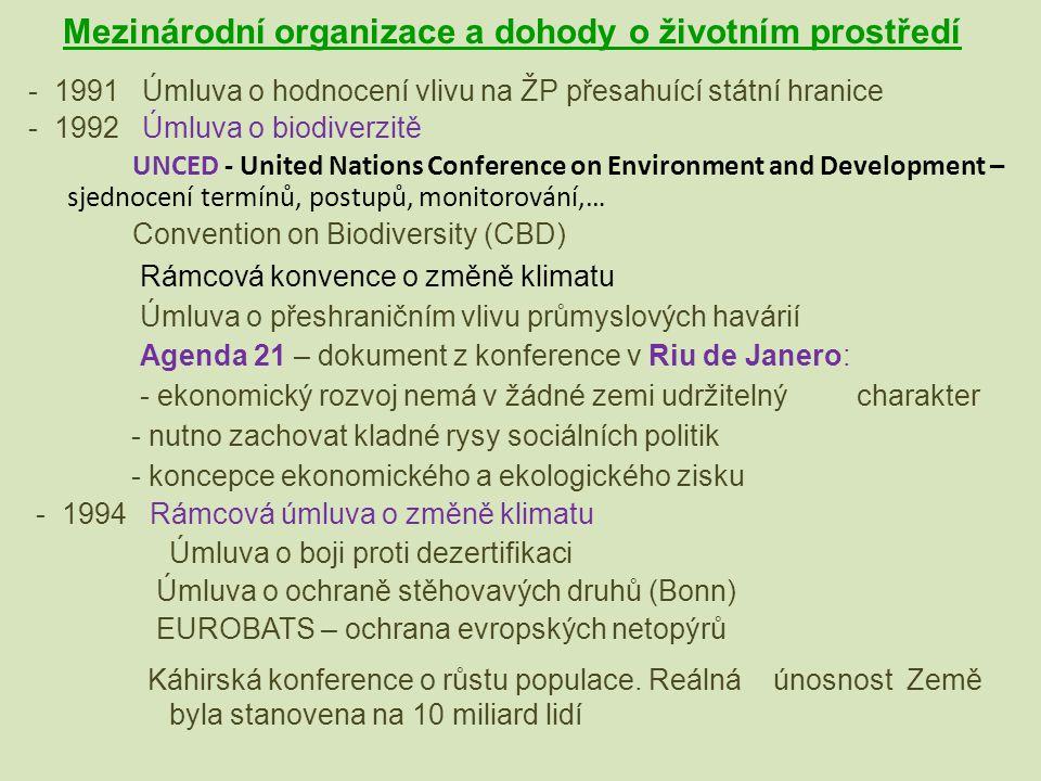Mezinárodní organizace a dohody o životním prostředí - 1991 Úmluva o hodnocení vlivu na ŽP přesahuící státní hranice - 1992 Úmluva o biodiverzitě UNCE