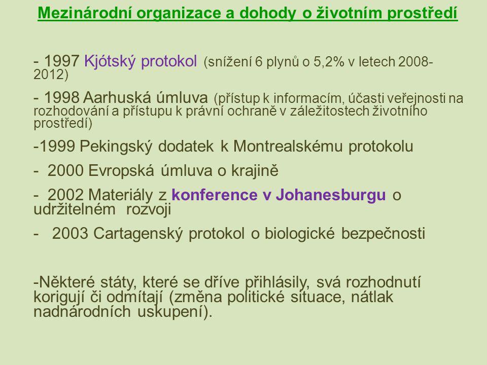 Mezinárodní organizace a dohody o životním prostředí - 1997 Kjótský protokol (snížení 6 plynů o 5,2% v letech 2008- 2012) - 1998 Aarhuská úmluva (přís