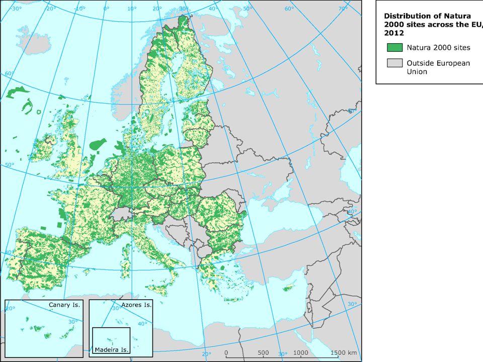 Ochrana přírody v ČR /Evropě Výběr území Natura 2000: bez ohledu na národní soustavu OP bez ohledu na vlastnictví výběr na základě vědeckých kritérií Identifikují se 2 typy území: Přírodní stanoviště (191) Výskyt chráněných druhů (150)