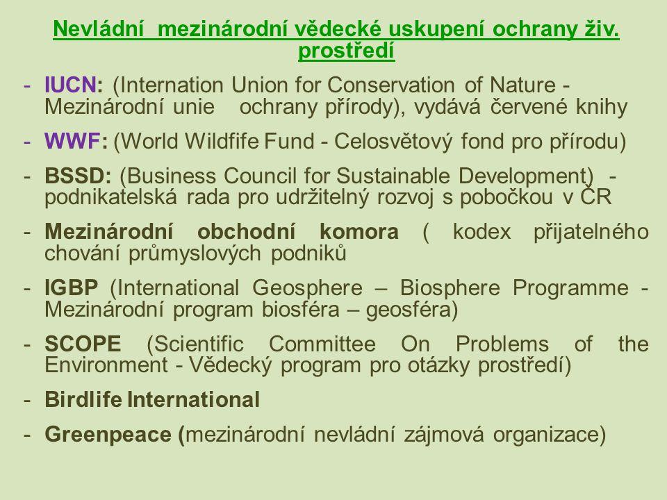 Nevládní mezinárodní vědecké uskupení ochrany živ. prostředí -IUCN: (Internation Union for Conservation of Nature - Mezinárodní unie ochrany přírody),