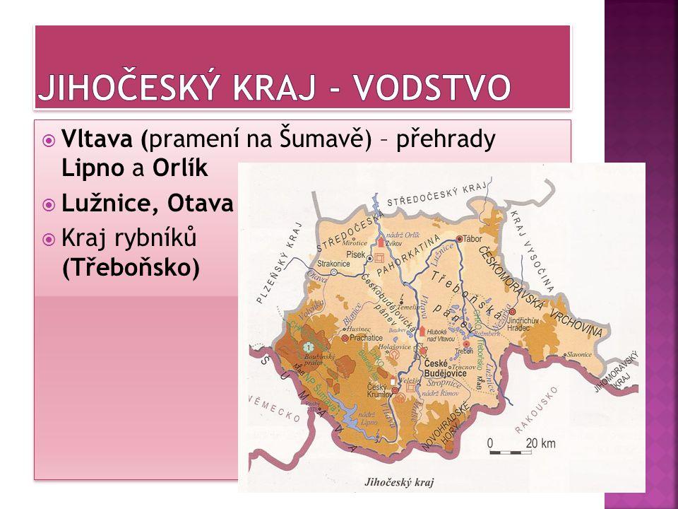  Vltava (pramení na Šumavě) – přehrady Lipno a Orlík  Lužnice, Otava  Kraj rybníků (Třeboňsko)  Vltava (pramení na Šumavě) – přehrady Lipno a Orlí