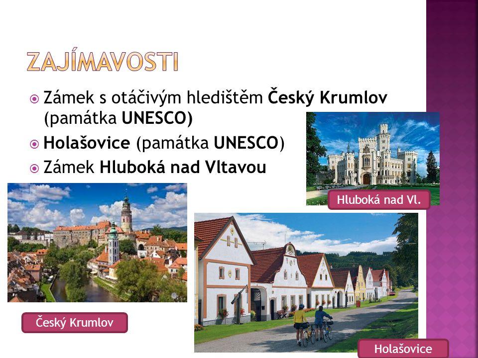  Zámek s otáčivým hledištěm Český Krumlov (památka UNESCO)  Holašovice (památka UNESCO)  Zámek Hluboká nad Vltavou Český Krumlov Hluboká nad Vl. Ho
