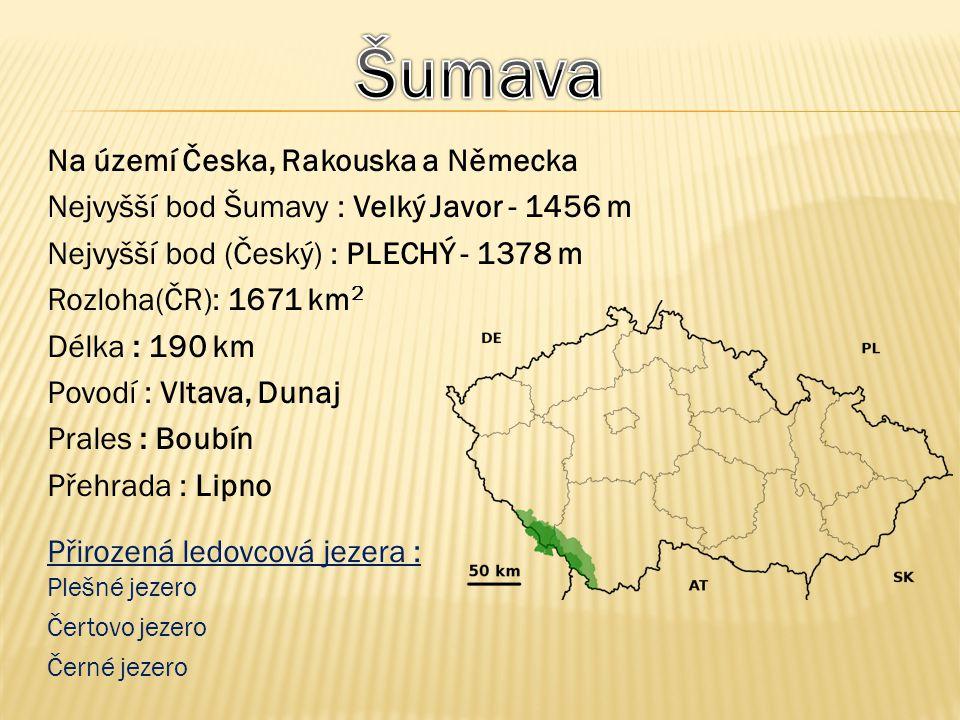 Na území Česka, Rakouska a Německa Nejvyšší bod Šumavy : Velký Javor - 1456 m Nejvyšší bod (Český) : PLECHÝ - 1378 m Rozloha(ČR): 1671 km 2 Délka : 19