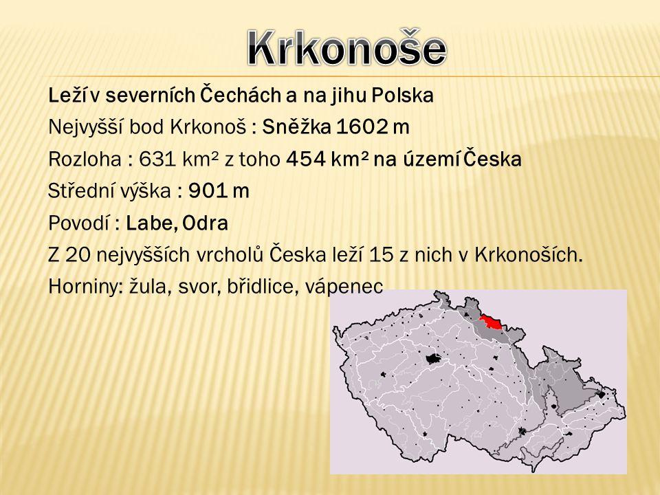 Leží v severních Čechách a na jihu Polska Nejvyšší bod Krkonoš : Sněžka 1602 m Rozloha : 631 km² z toho 454 km² na území Česka Střední výška : 901 m P