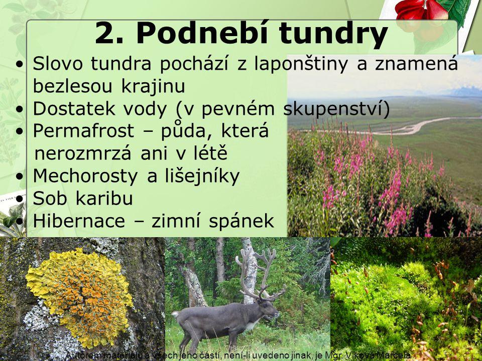 2. Podnebí tundry Autorem materiálu a všech jeho částí, není-li uvedeno jinak, je Mgr. Vlková Marcela Slovo tundra pochází z laponštiny a znamená bezl