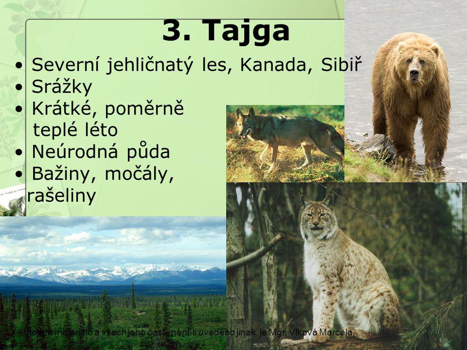 3. Tajga Autorem materiálu a všech jeho částí, není-li uvedeno jinak, je Mgr. Vlková Marcela Severní jehličnatý les, Kanada, Sibiř Srážky Krátké, pomě