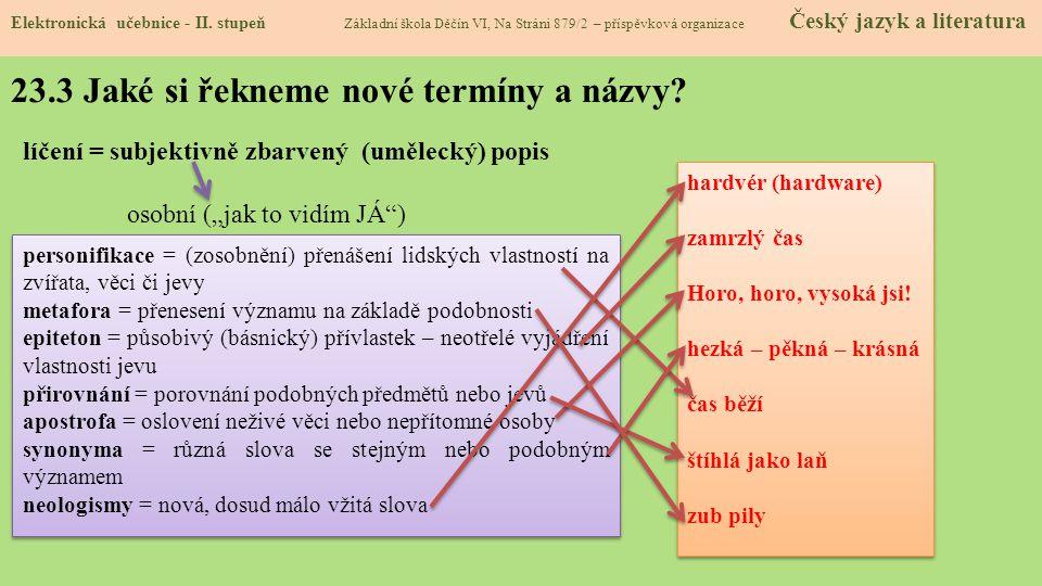 23.3 Jaké si řekneme nové termíny a názvy.Elektronická učebnice - II.