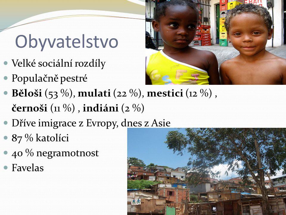 Obyvatelstvo Velké sociální rozdíly Populačně pestré Běloši (53 %), mulati (22 %), mestici (12 %), černoši (11 %), indiáni (2 %) Dříve imigrace z Evro