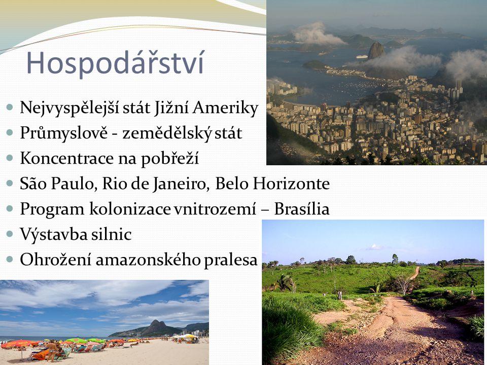 Hospodářství Nejvyspělejší stát Jižní Ameriky Průmyslově - zemědělský stát Koncentrace na pobřeží São Paulo, Rio de Janeiro, Belo Horizonte Program ko