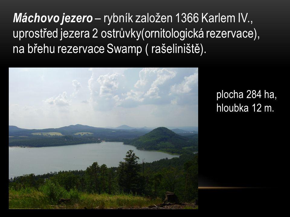 Máchovo jezero – rybník založen 1366 Karlem IV., uprostřed jezera 2 ostrůvky(ornitologická rezervace), na břehu rezervace Swamp ( rašeliniště).