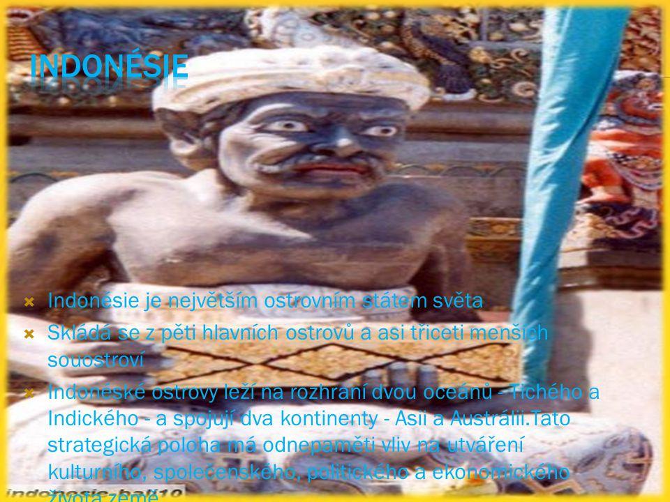  Indonésie je největším ostrovním státem světa  Skládá se z pěti hlavních ostrovů a asi třiceti menších souostroví  Indonéské ostrovy leží na rozhraní dvou oceánů - Tichého a Indického - a spojují dva kontinenty - Asii a Austrálii.Tato strategická poloha má odnepaměti vliv na utváření kulturního, společenského, politického a ekonomického života země