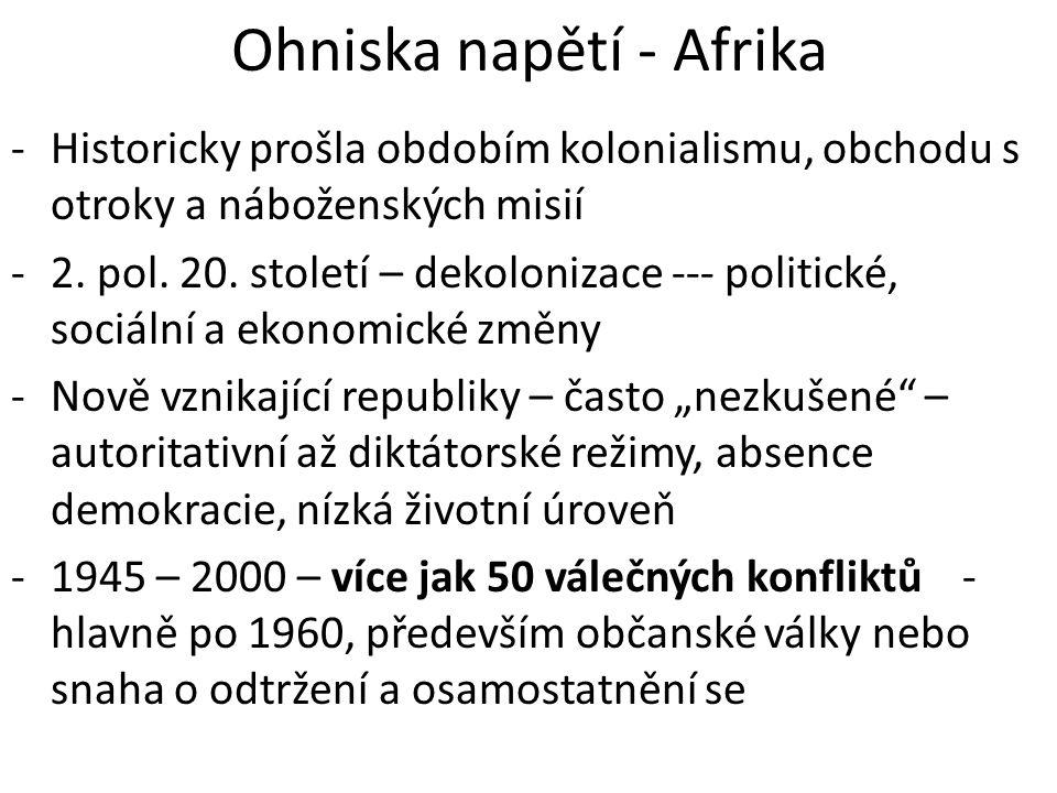 Demokratická republika Kongo (Zair) - 1960 – konec belgické kolonizace -Nový režim – odpor místních etnických skupin, prezident – podporován USA, velké zpronevěry, 1994 – svržen – od té doby v zemi anarchie -Útoky z okolních zemí – hlavně Rwanda -Dnes vláda (svobodné volby 2006) ovládá pouze hlavní město, jinak jednotlivé oblasti vedou vojenské skupiny -Od začátku občanské válka – 4 mil.