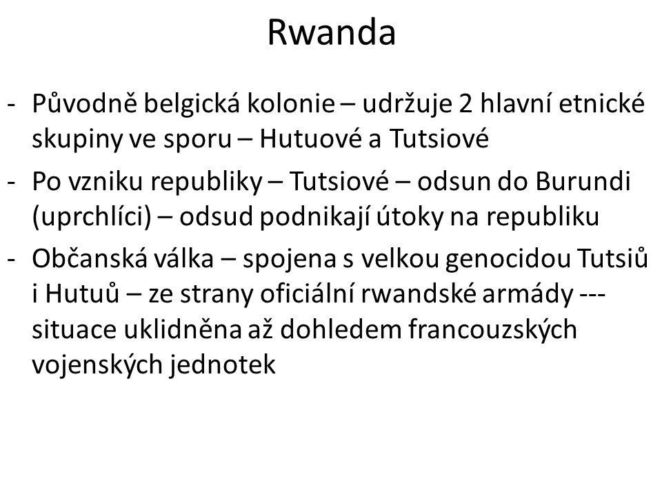 Rwanda -Původně belgická kolonie – udržuje 2 hlavní etnické skupiny ve sporu – Hutuové a Tutsiové -Po vzniku republiky – Tutsiové – odsun do Burundi (
