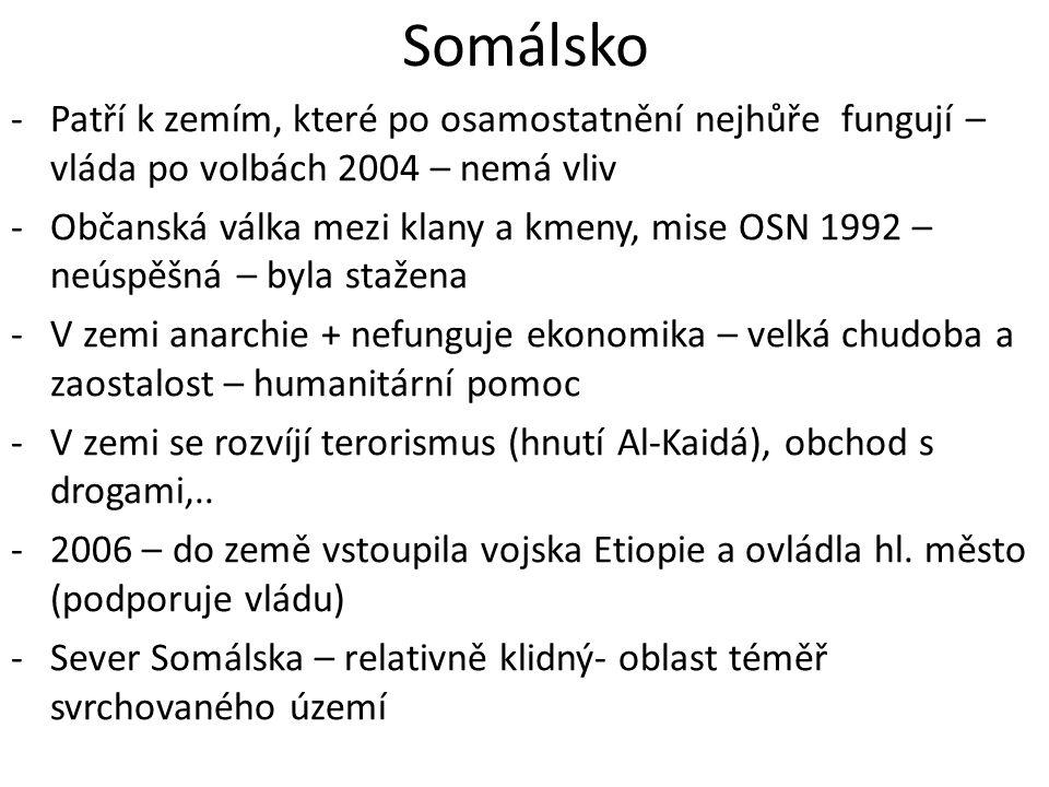 Somálsko -Patří k zemím, které po osamostatnění nejhůře fungují – vláda po volbách 2004 – nemá vliv -Občanská válka mezi klany a kmeny, mise OSN 1992
