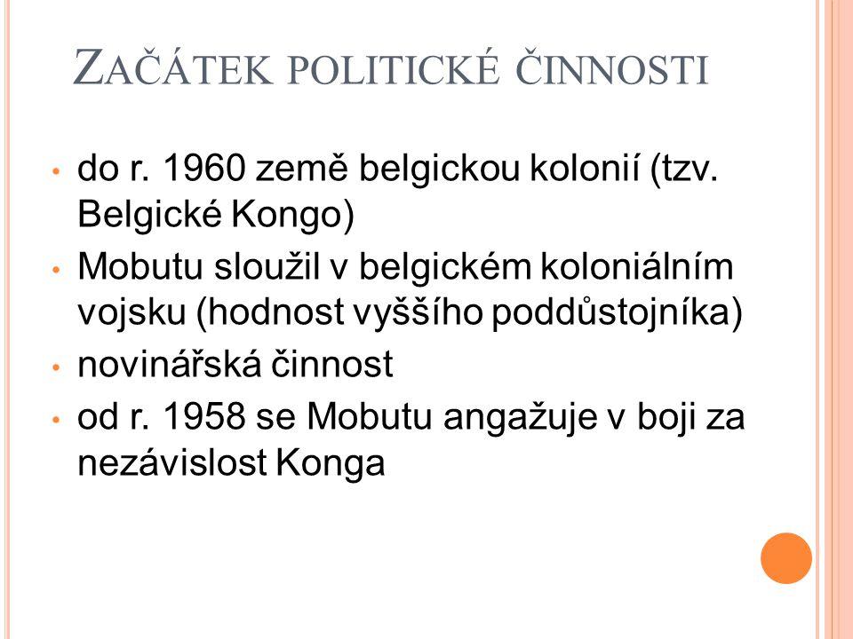 K ONŽSKÁ REPUBLIKA nezávislost vyhlášena v červnu 1960 prezident – Joseph KASAVUBU předseda vlády – Patrice LUMUMBA ministr obrany – MOBUTU