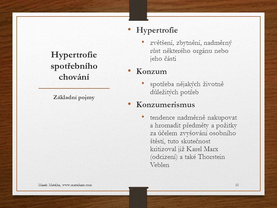 Hypertrofie spotřebního chování Hypertrofie zvětšení, zbytnění, nadměrný růst některého orgánu nebo jeho části Konzum spotřeba nějakých životně důleži