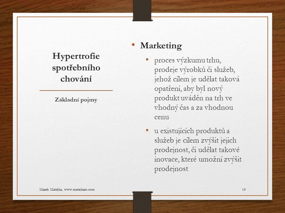 Hypertrofie spotřebního chování Marketing proces výzkumu trhu, prodeje výrobků či služeb, jehož cílem je udělat taková opatření, aby byl nový produkt