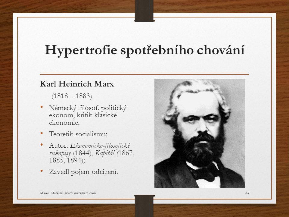 Hypertrofie spotřebního chování Karl Heinrich Marx (1818 – 1883) Německý filosof, politický ekonom, kritik klasické ekonomie; Teoretik socialismu; Aut