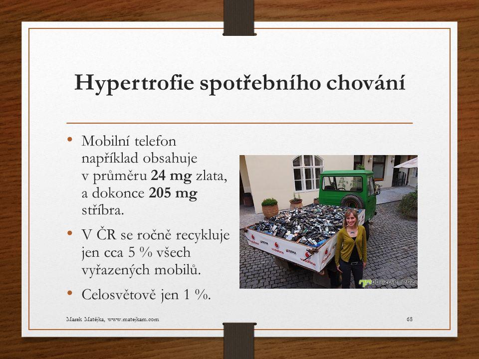 Hypertrofie spotřebního chování Mobilní telefon například obsahuje v průměru 24 mg zlata, a dokonce 205 mg stříbra. V ČR se ročně recykluje jen cca 5