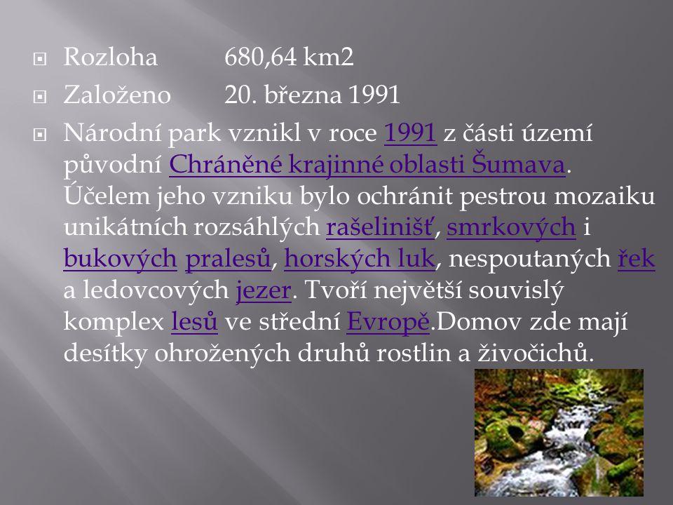  Rozloha 680,64 km2  Založeno 20. března 1991  Národní park vznikl v roce 1991 z části území původní Chráněné krajinné oblasti Šumava. Účelem jeho