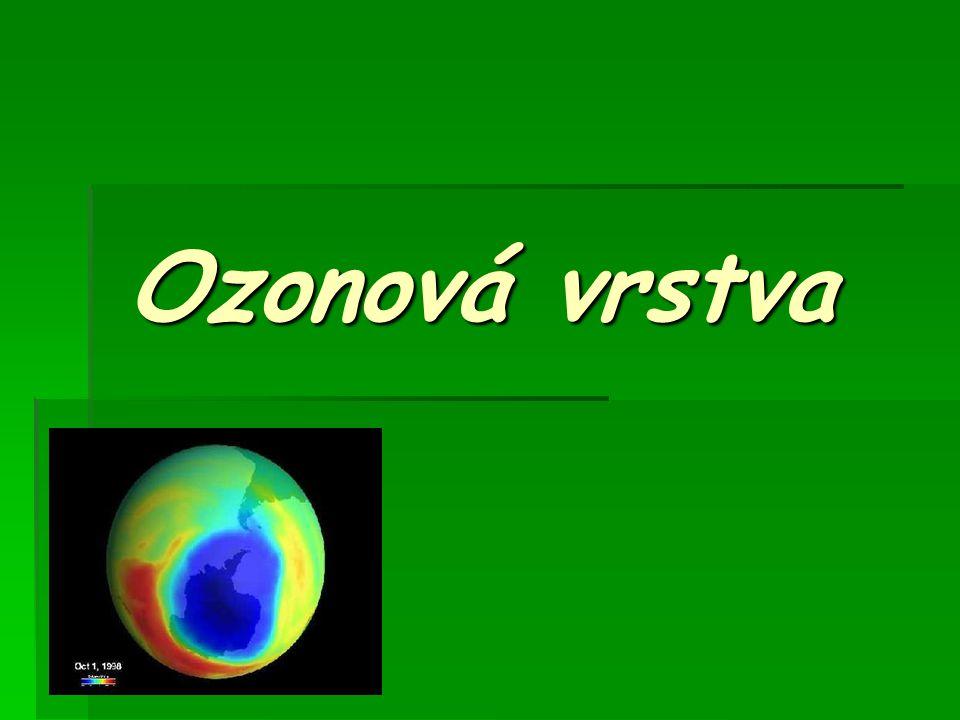  Ozonová vrstva je část stratosféry ve výšce 25 – 35 km nad zemským povrchem, v níž se nachází značně zvýšený poměr ozonu vůči běžnému dvouatomovému kyslíku.