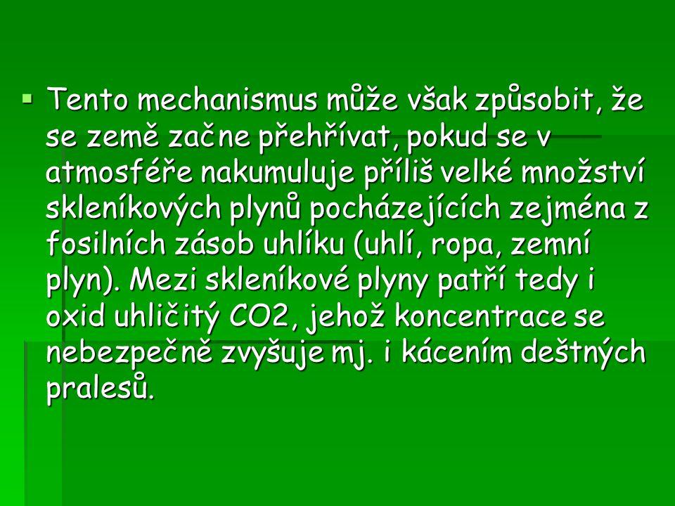  Tento mechanismus může však způsobit, že se země začne přehřívat, pokud se v atmosféře nakumuluje příliš velké množství skleníkových plynů pocházejí