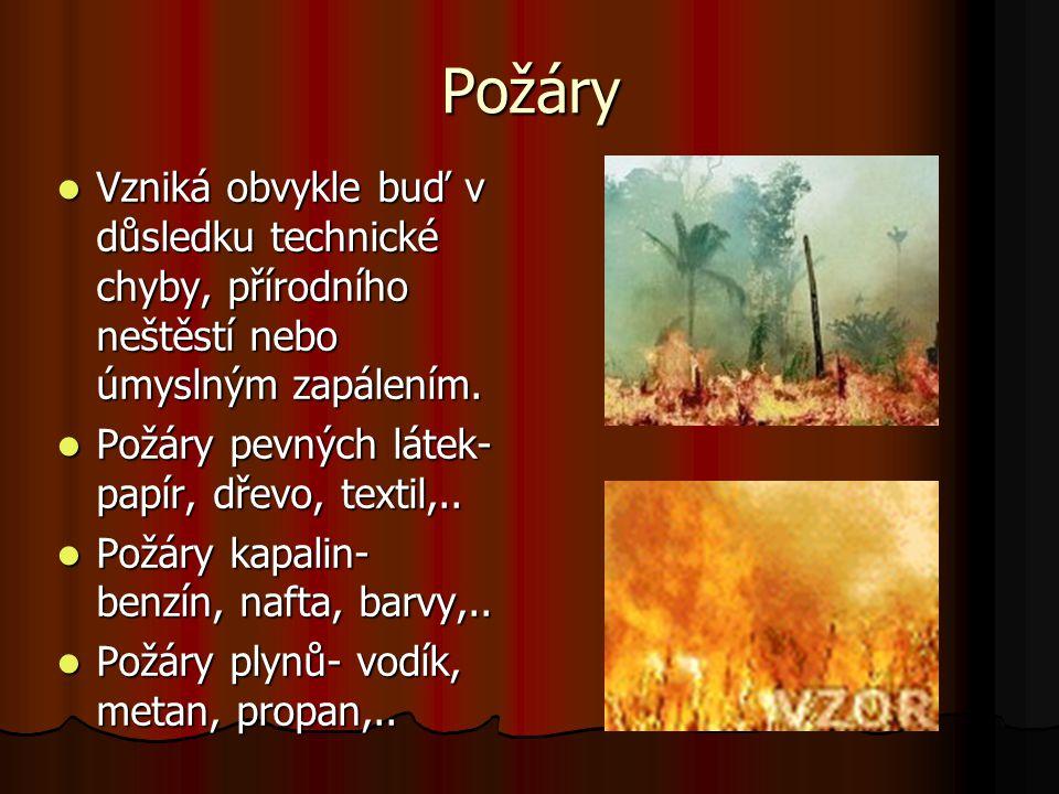 Požáry Vzniká obvykle buď v důsledku technické chyby, přírodního neštěstí nebo úmyslným zapálením. Vzniká obvykle buď v důsledku technické chyby, přír