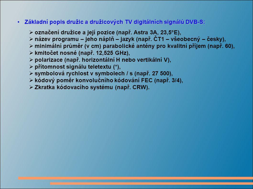 Základní popis družic a družicových TV digitálních signálů DVB-S:Základní popis družic a družicových TV digitálních signálů DVB-S:  označení družice