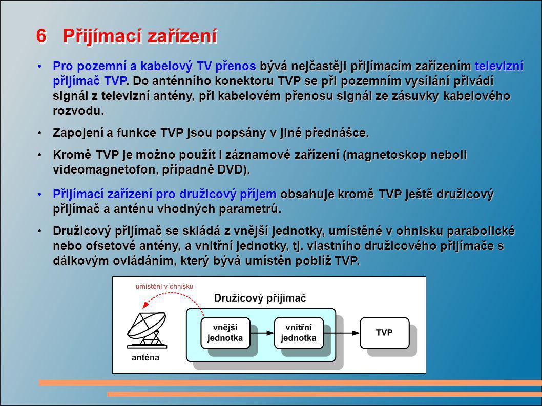 6 Přijímací zařízení Pro pozemní a kabelový TV přenos bývá nejčastěji přijímacím zařízením televizní přijímač TVP. Do anténního konektoru TVP se při p