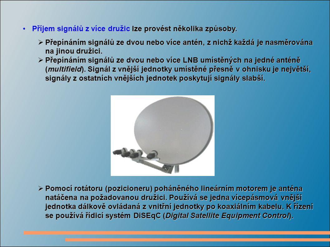 Příjem signálů z více družic lze provést několika způsoby.Příjem signálů z více družic lze provést několika způsoby.  Přepínáním signálů ze dvou nebo